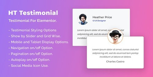 CodeCanyon - HT Testimonial For Elementor v1.0.0 - 26029575