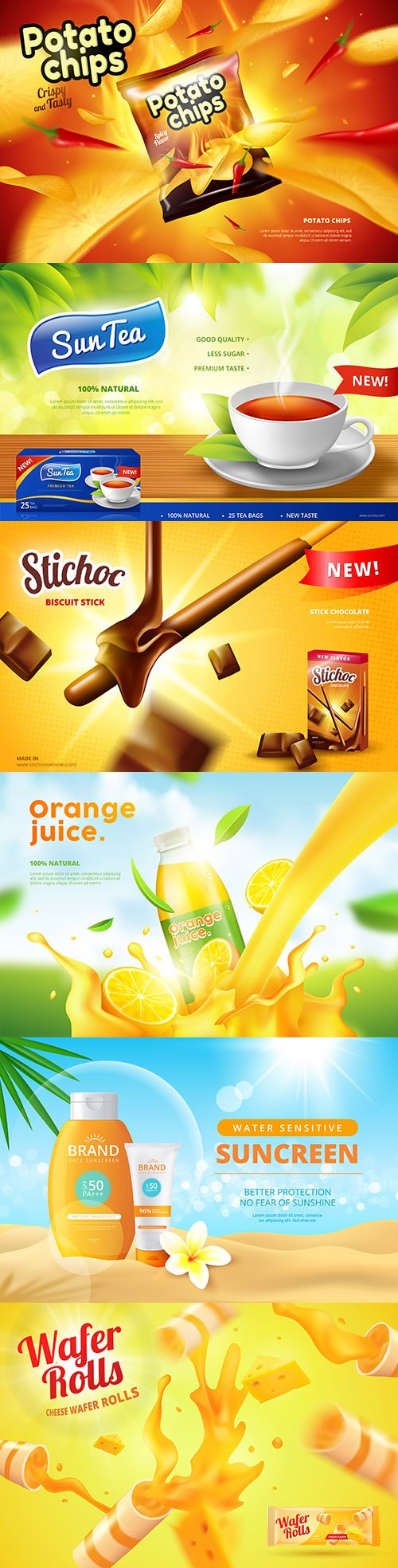 Products and beverages advertising template design