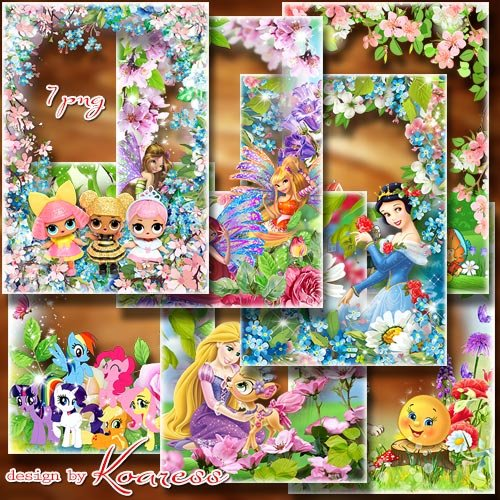 Набор детских рамок в формате png со сказочными персонажами