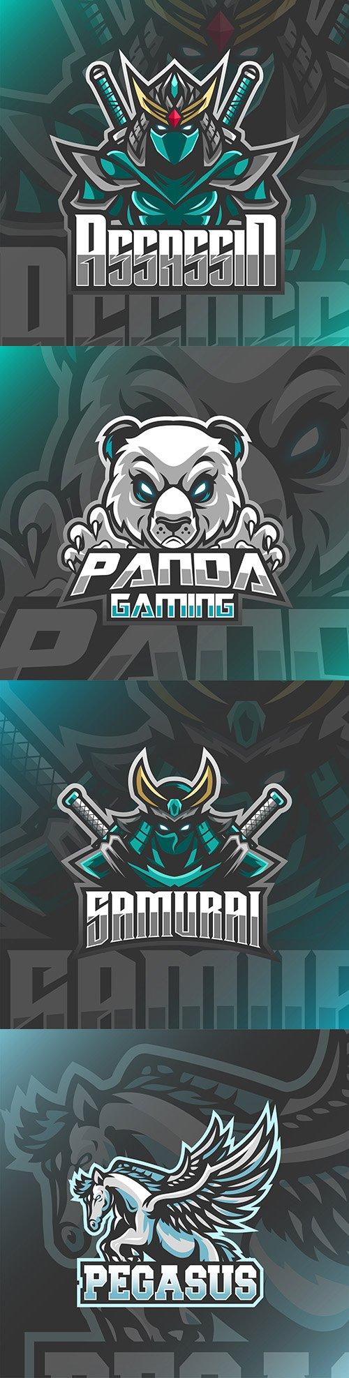 Emblem gaming mascot design esport illustration 17