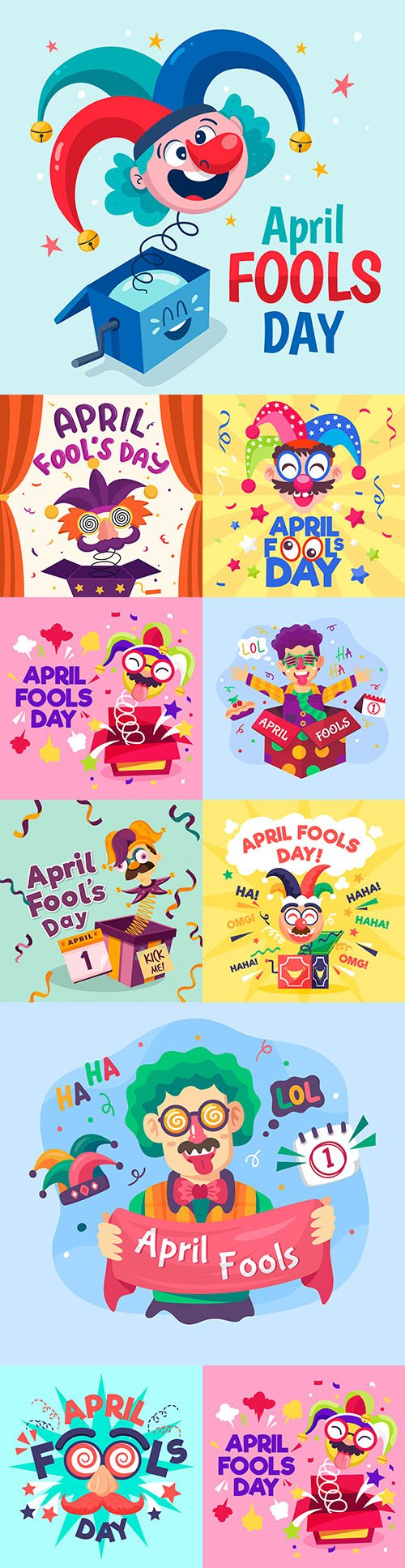 First April day of fools concept flat design