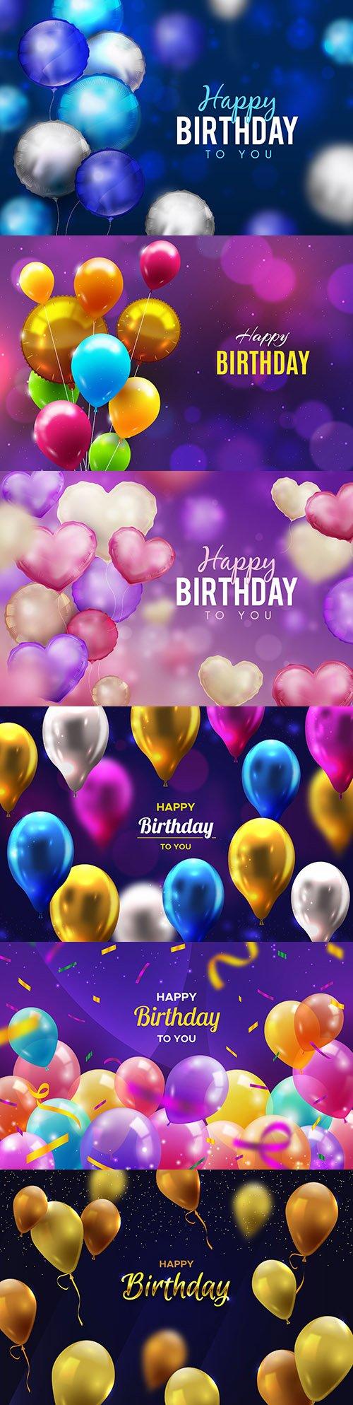 Happy birthday holiday invitation realistic balloons 11
