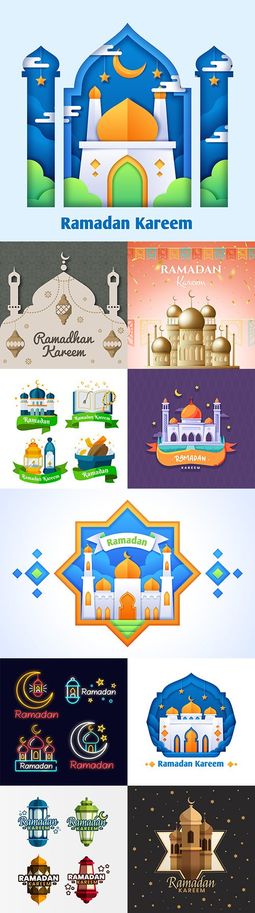 Ramadan Kareem design illustrations in flat style