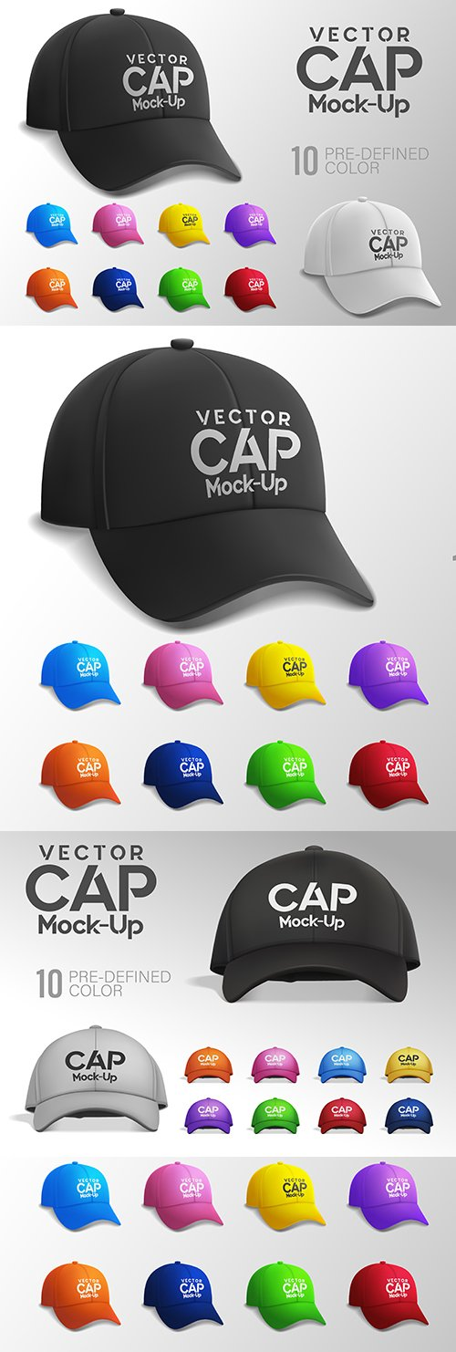 Cap of different colors and design Mockup
