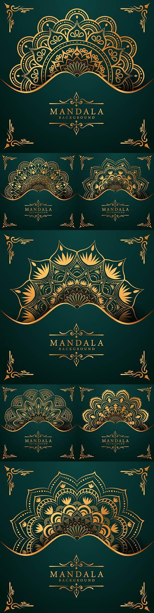 Modern abstract mandala background golden oriental style