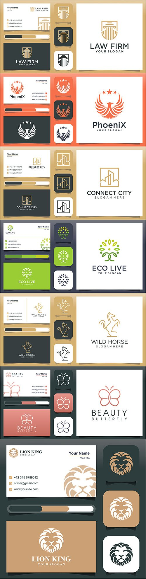 Business card and line logo design template