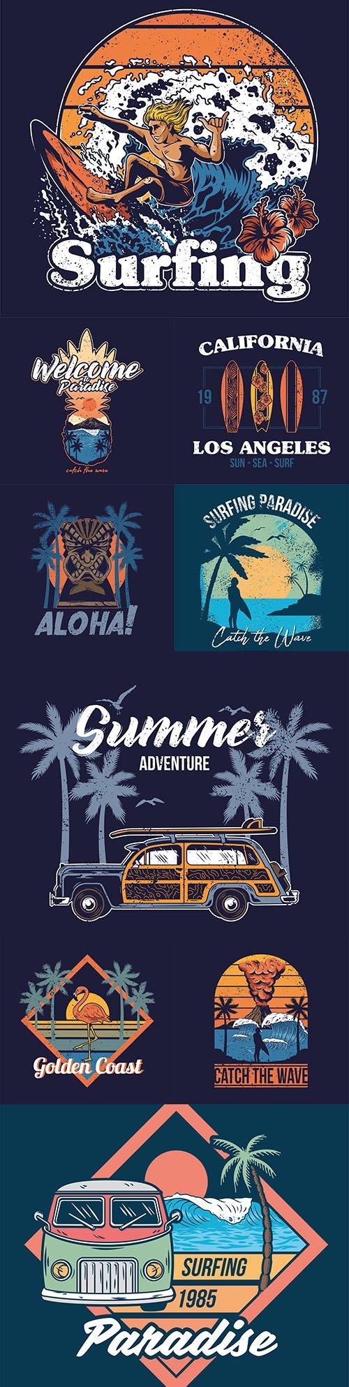 Summer surf design vintage emblems and logos