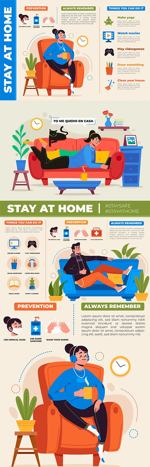 Stay at home warning infographics design