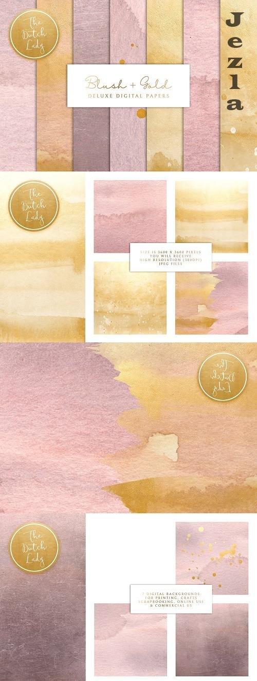 Blush & Gold Digital Backgrounds - 4748659