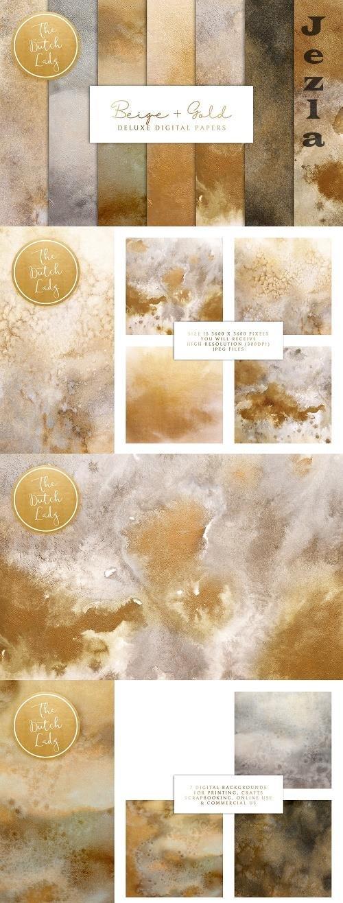 Beige & Gold Digital Backgrounds - 4751737