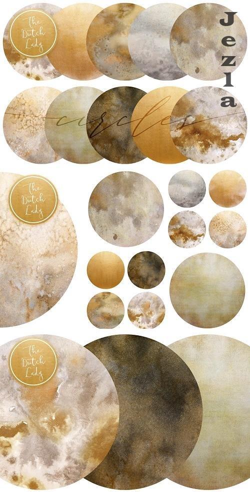 Beige & Gold Circle Clipart Set - 4752796