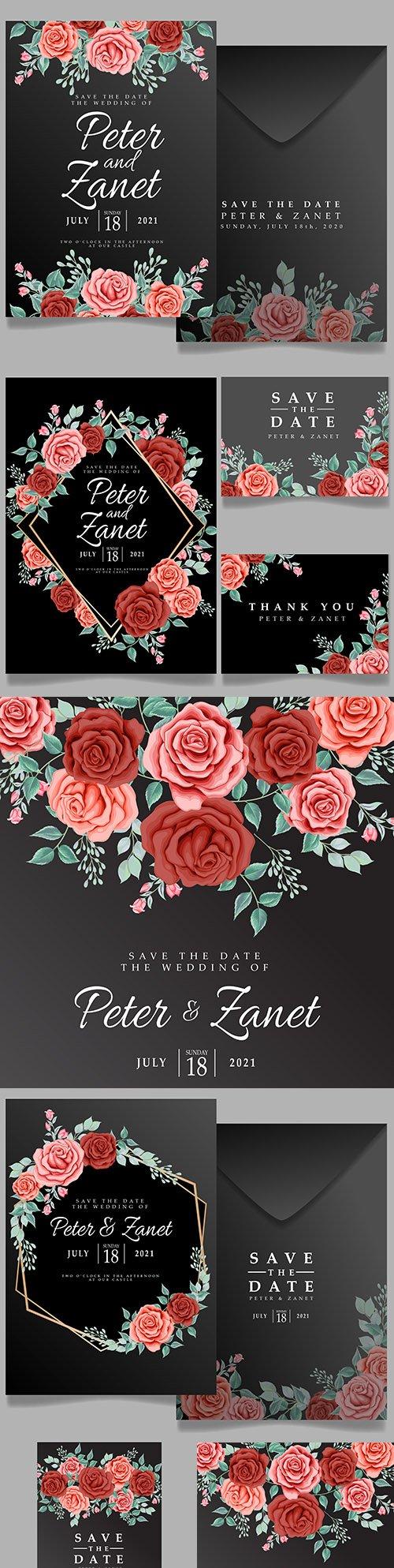 Beautiful rose flower wedding invitation black background