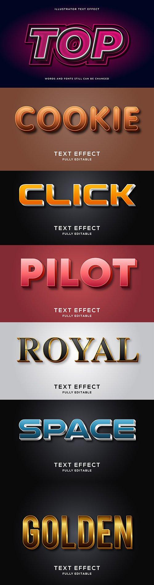 Editable font effect text collection illustration design 44