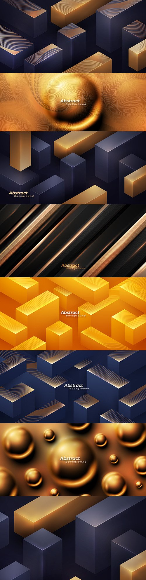 Golden abstract flickering balls and geometric background