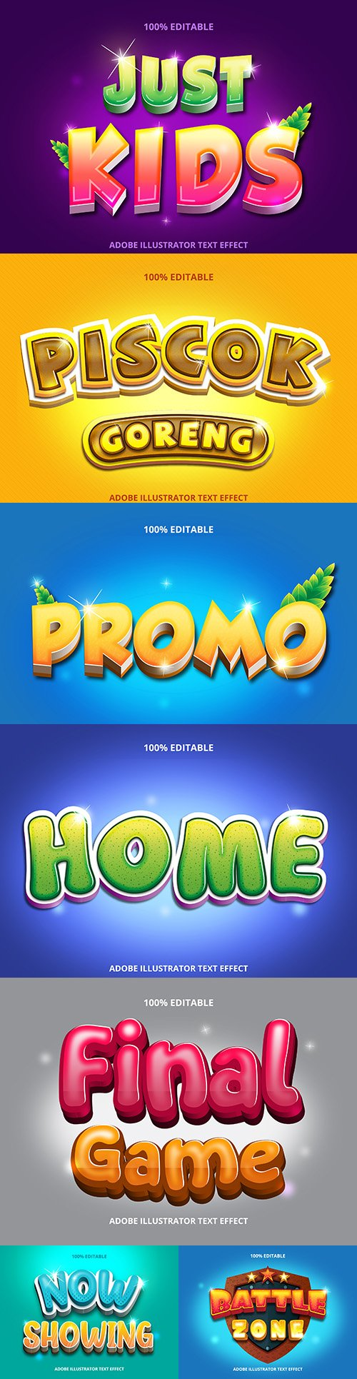 Editable font effect text collection illustration design 45