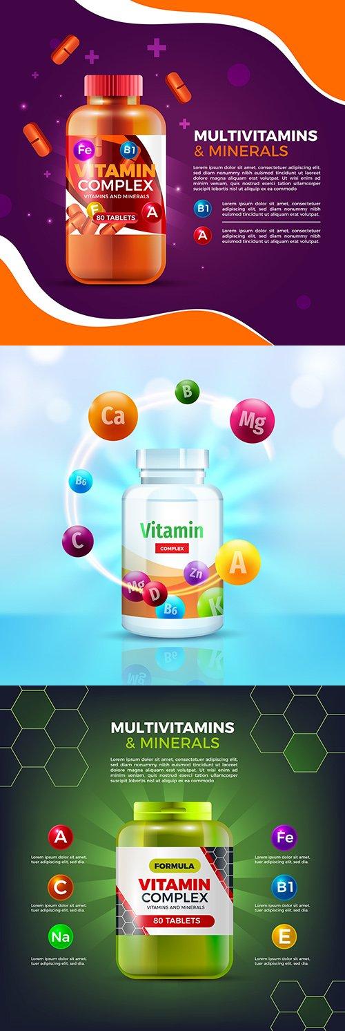 Complex vitamins and minerals design realistic