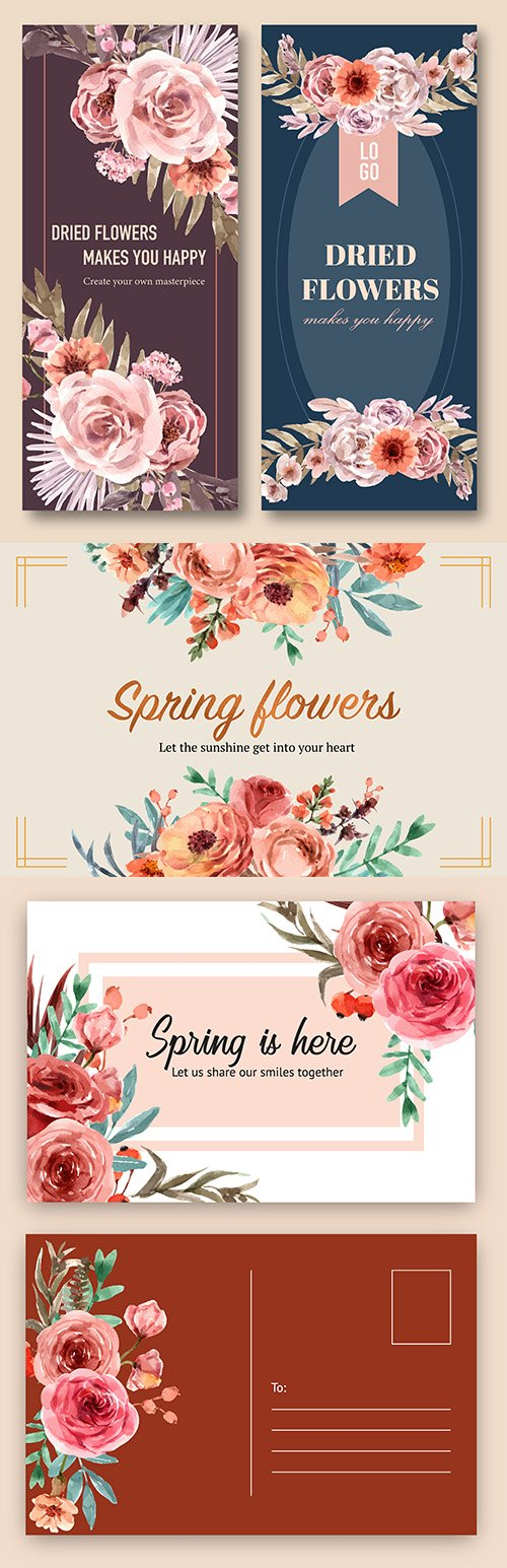 Flowers flyer and postcard envelope watercolor design