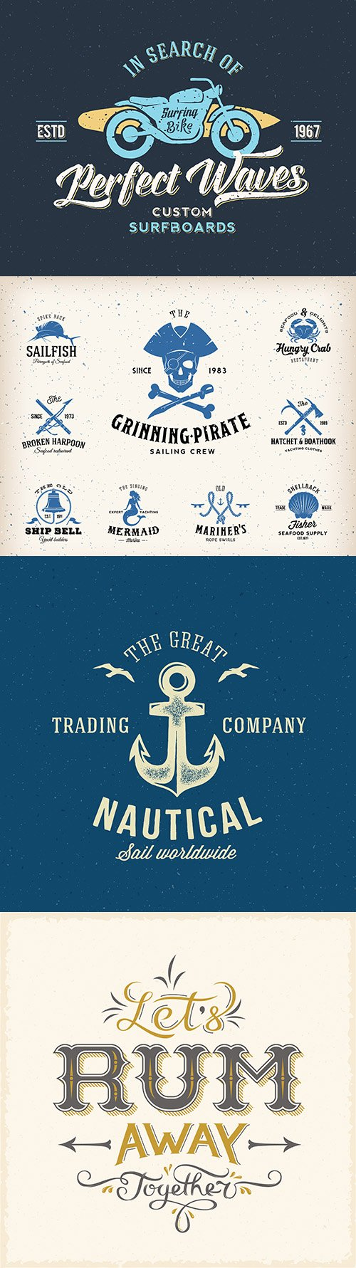 Marine retro logo and design label template