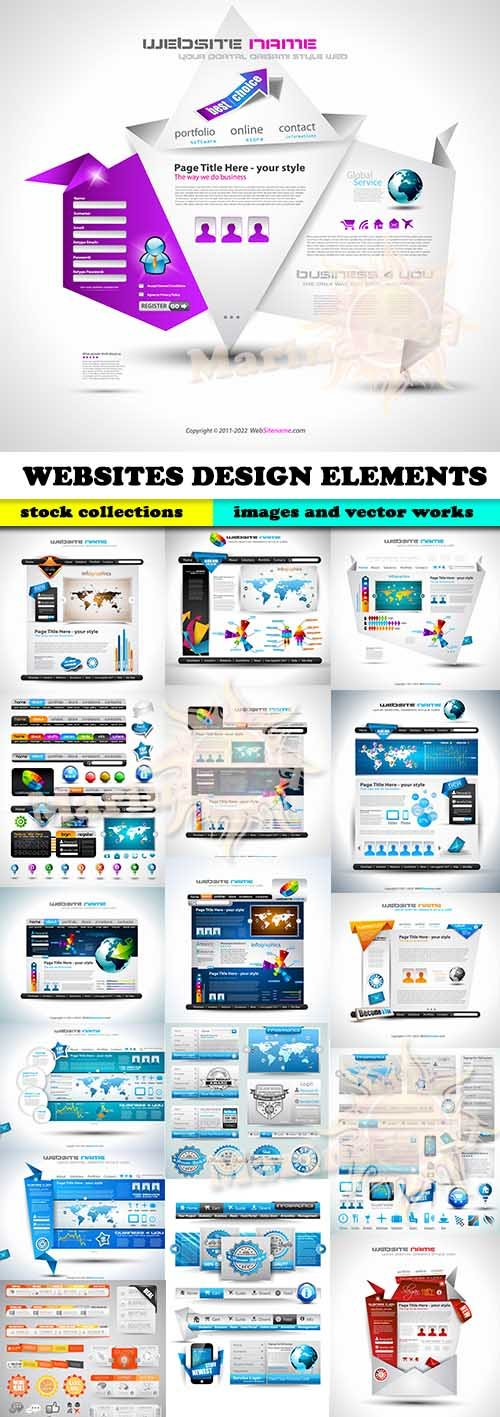 WEBSITES DESIGN ELEMENTS 15 EPS
