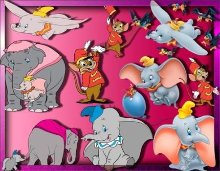 Прозрачные картинки для фотошопа - Слоненок Дамбо
