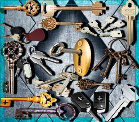Клипарты для фотошопа - Ключи от дома, машины, гаража