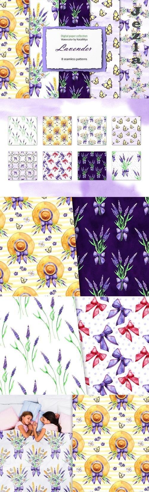 Watercolor lavender digital paper - 4767910