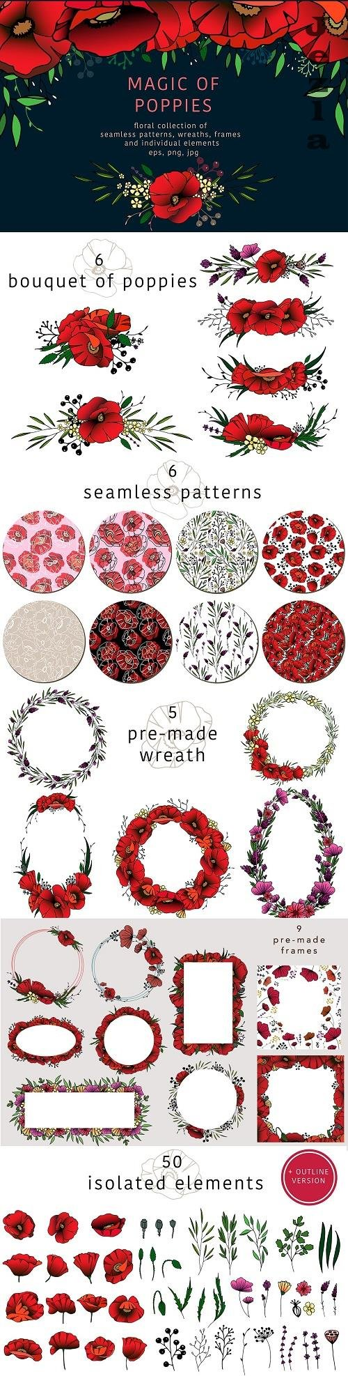 Magic of poppies - floral collection - 2135537