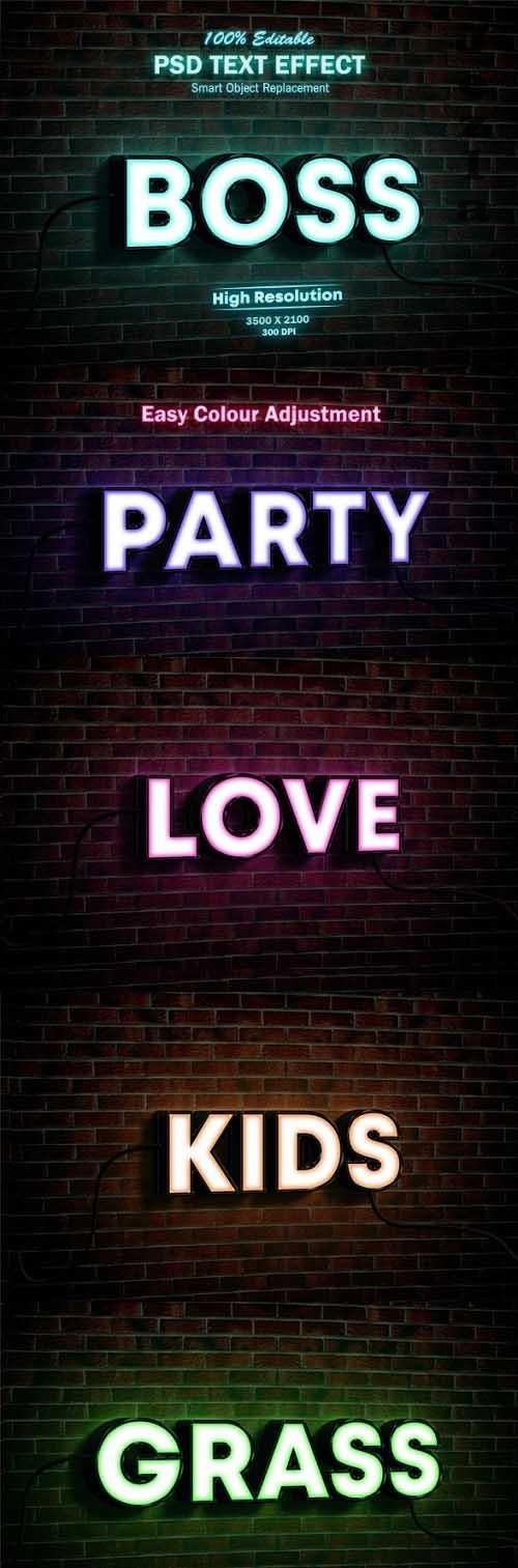 Neon Light Sign 3D Mock-up PSD Text Effect  - 26315239
