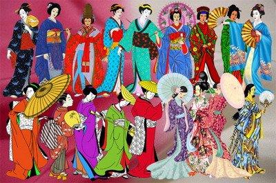 Клипарт Рисованные фигурки японок