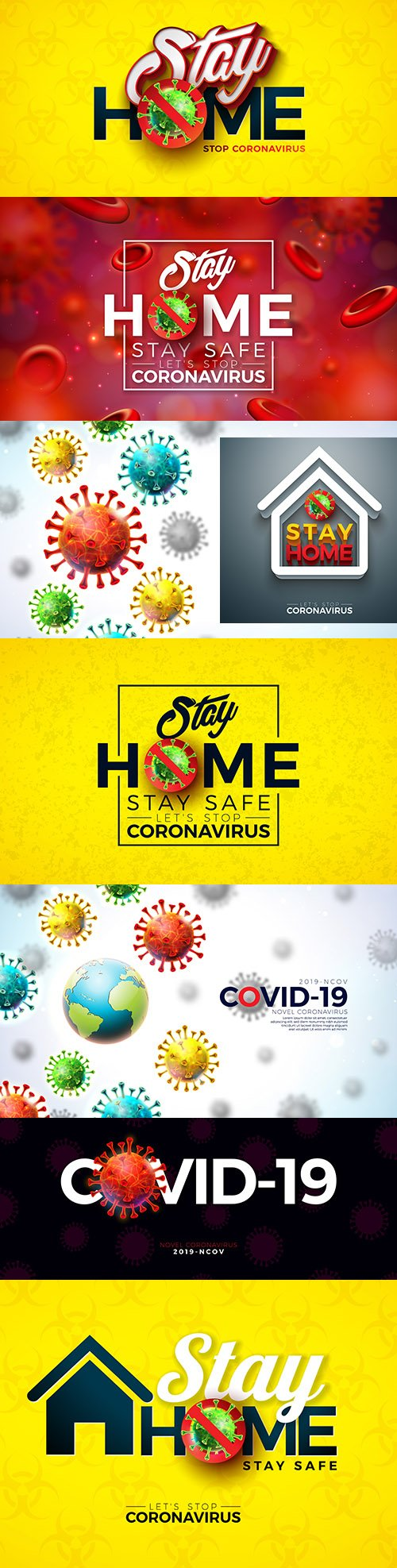 Stay home Covid-19 coronavirus and viral cell outbreak design