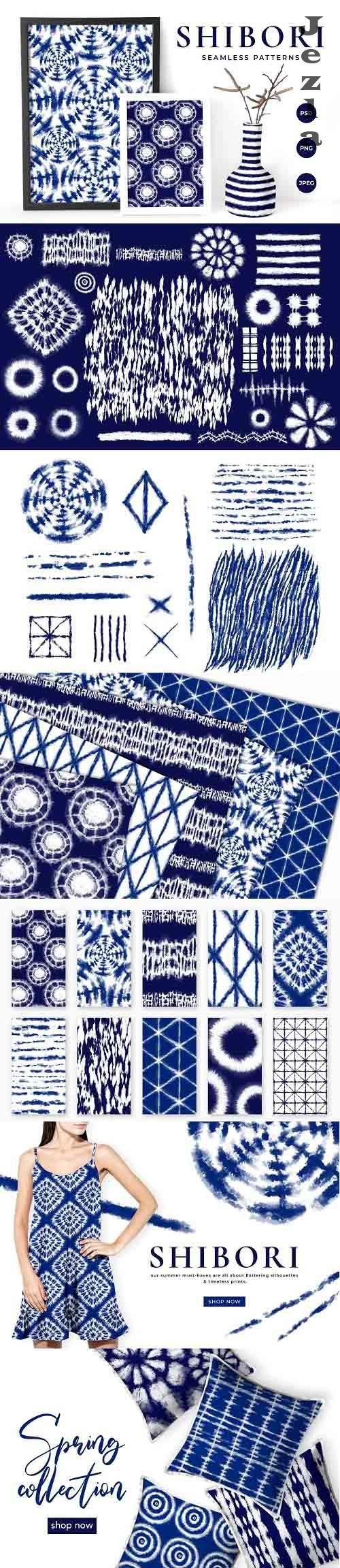 Shibori Tie Dye Seamless Patterns - 4899724