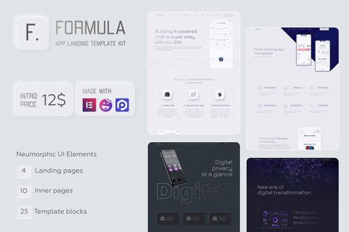 ThemeForest - Formula v1.0 - Software & App Landing Elementor Template Kit - 26217874