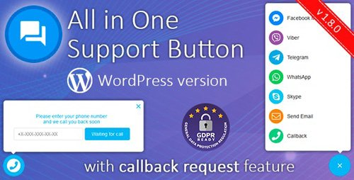CodeCanyon - All in One Support Button v1.8.1 + Callback Request. WhatsApp, Messenger, Telegram, LiveChat and more... - 22266189 -