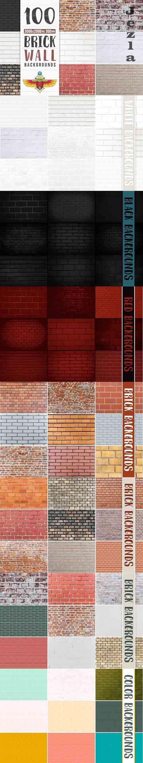 100 Brick Wall Backgrounds Pack - 4931629