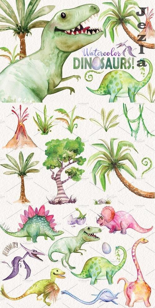 Watercolor Dinosaurs Elements - 2444936