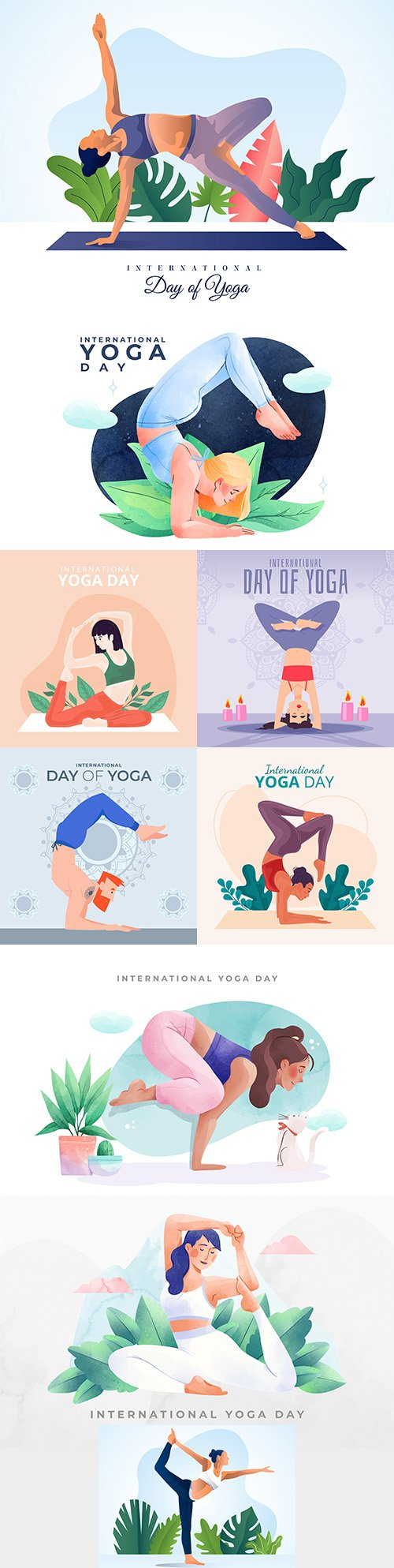 Yoga International day and meditation design illustration 3