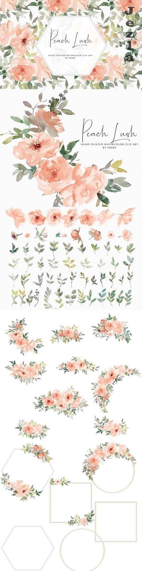 Watercolor Peach Floral Clipart Set - 4971181