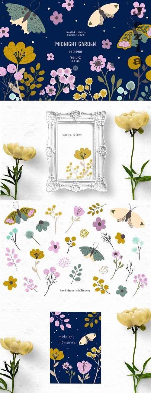 Hand-drawn wildflower clipart - 4972122