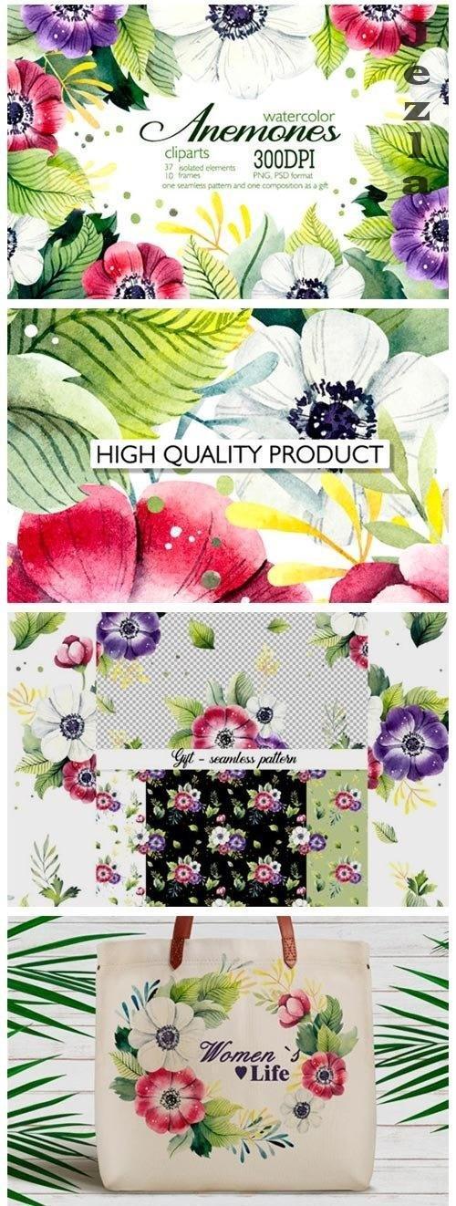 Watercolor clipart Anemones - 4730950