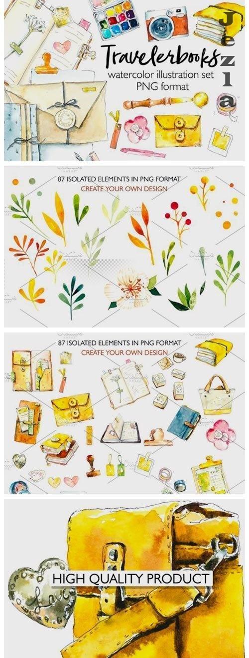 Travelbooks. Watercolor clipart - 4781262