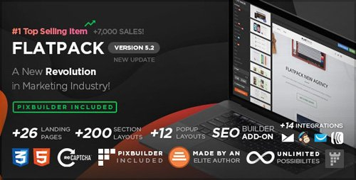 ThemeForest - FLATPACK v5.2.3 - Landing Pages Pack With Page Builder - 10591107