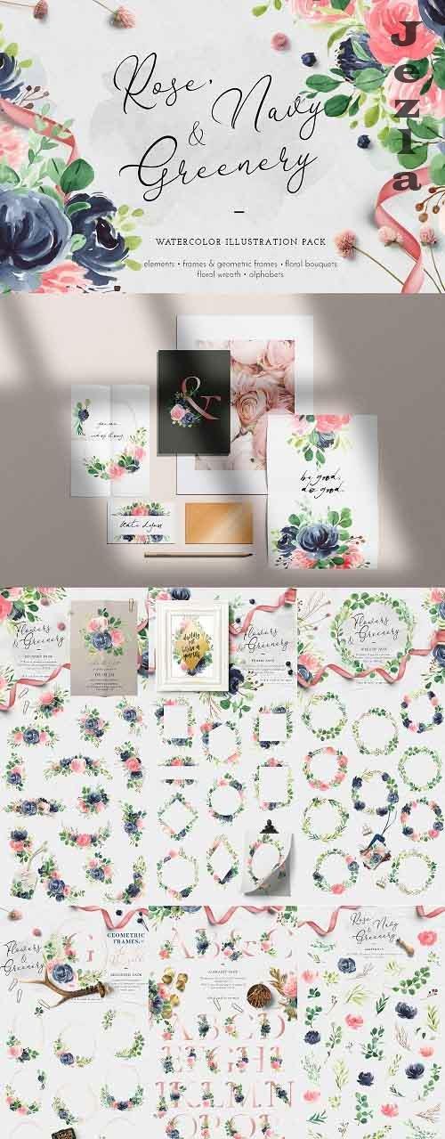 Rose, Navy & Greenery Illustration Pack - 4978852