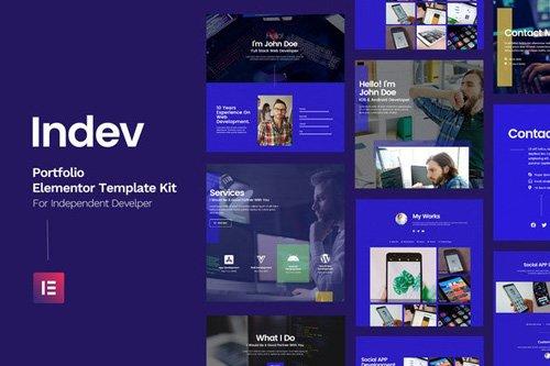 ThemeForest - Indev v1.0 - Portfolio Elementor Template Kit For Developer - 26143449