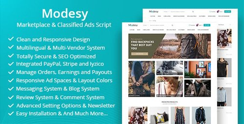 CodeCanyon - Modesy v1.6 - Marketplace & Classified Ads Script - 22714108 - NULLED