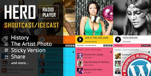 CodeCanyon - Hero - Shoutcast and Icecast Radio Player With History - WordPress Plugin v3.1.0 - 19364283