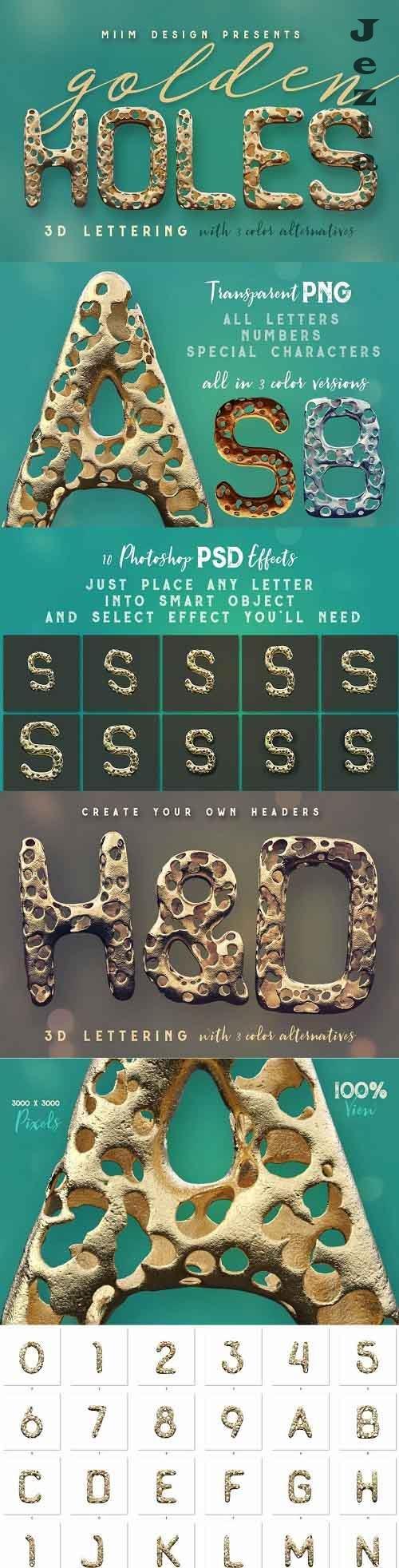 Full Of Holes - Golden 3D Lettering - 1702957