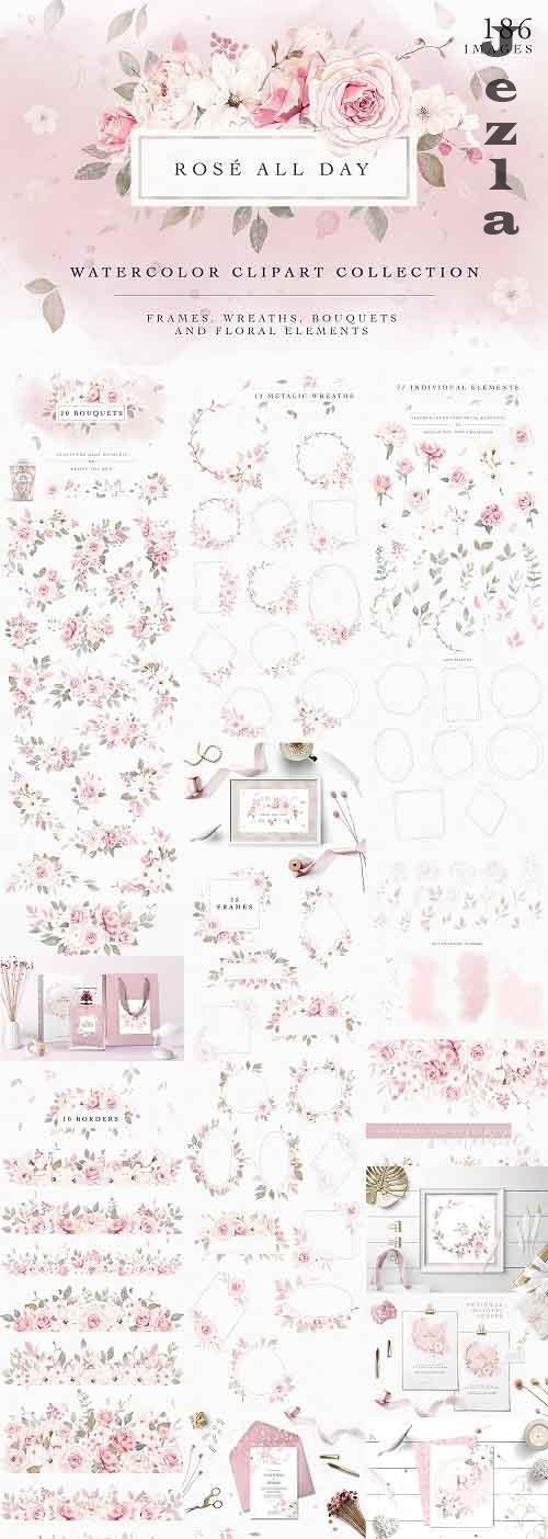 Rose Watercolor Clipart & Invitation - 4593640