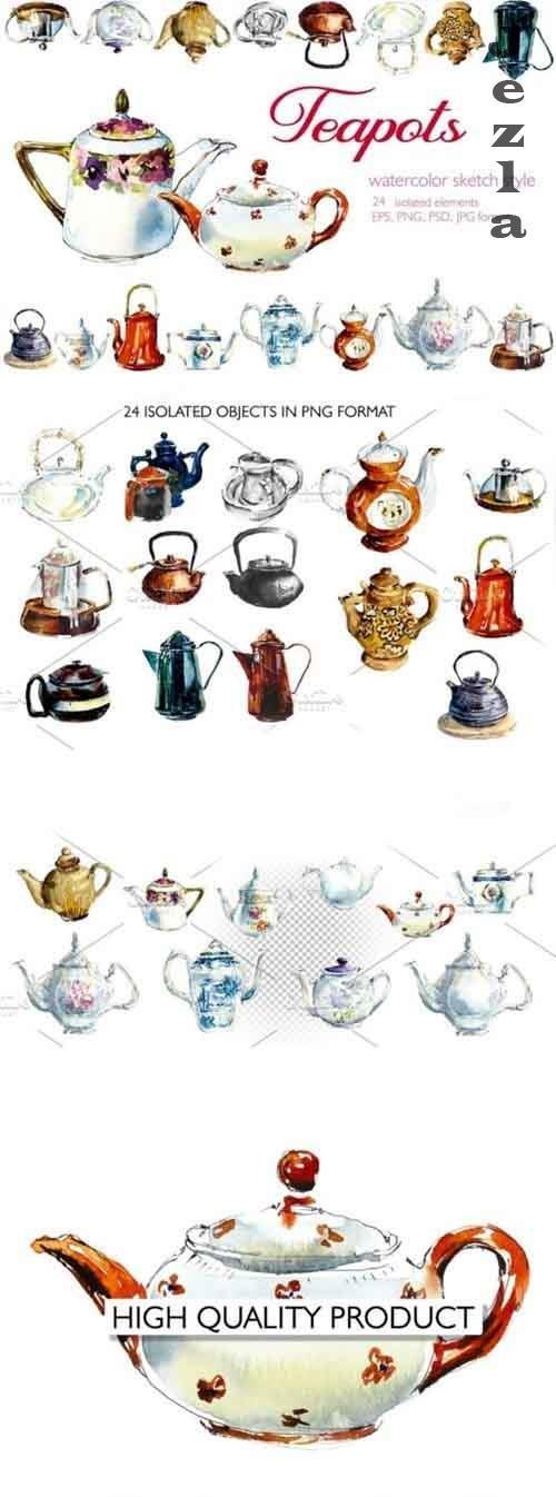 Watercolor vintage teapots - 2816047