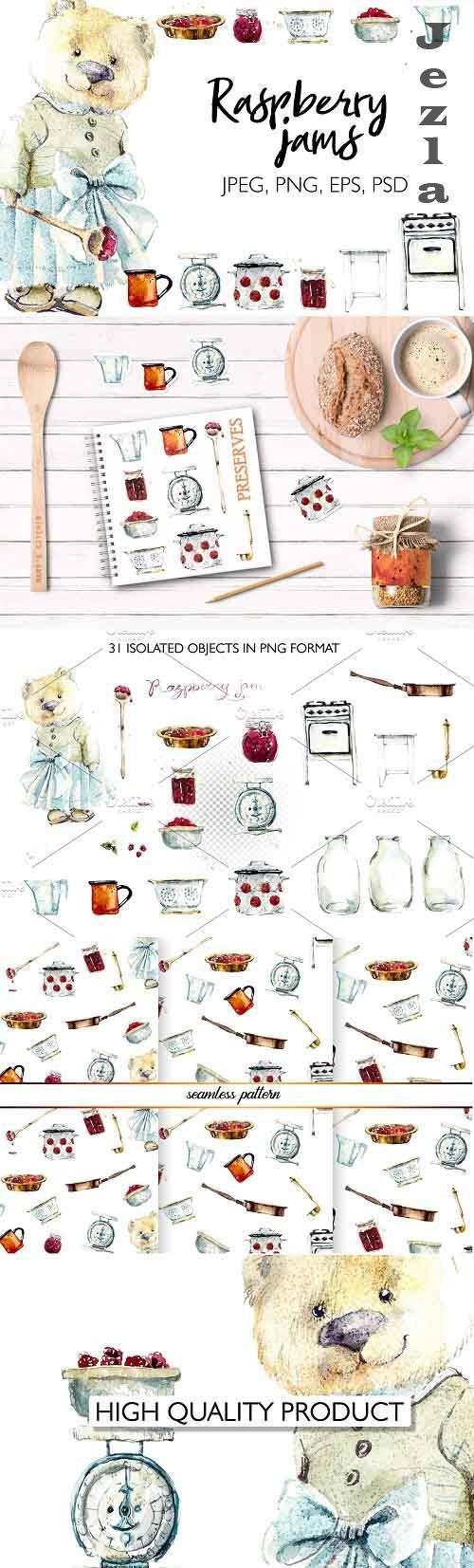 Watercolor raspberry jam - 4044966