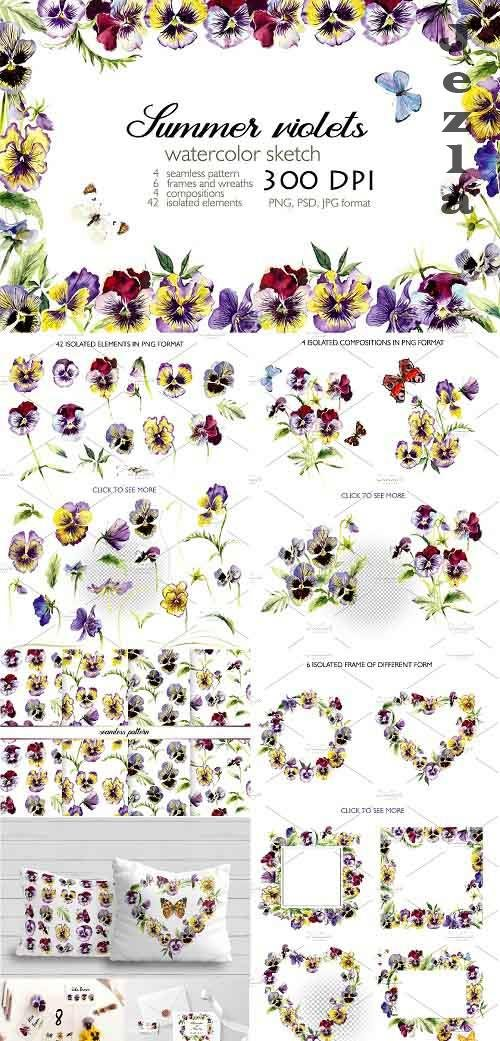 Watercolor set - Blooming Violets - 3545129